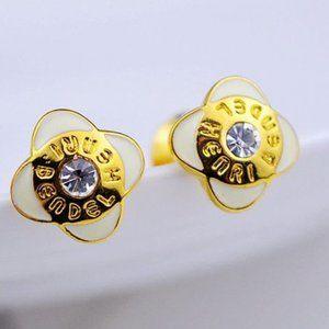 Henri Bendel White Enamel Zircon Petal Earrings